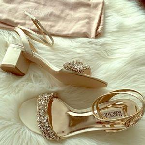 Badgley Mischka Jada Embellished Heels Ivory 8.5
